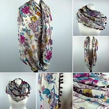 FLORAL Print Snood | Infinity Endless Cream SCARF Womens Purple Shawl | NEXT DAY