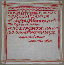 C1900 Dutch Red Abc Cross Stitch Sampler Letters Numbers Anna Vd Meer Leeuwarden