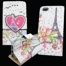 Custodia cover stand Love Paris per iPhone SE 5 5S libretto Brillantini tasche