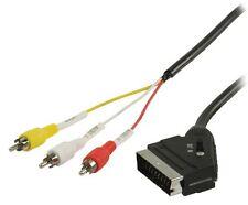 Glaxio 2m conmutable Scart A 3x Rca Macho Cable (con entrada/salida Selector)