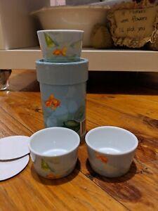 3 Christopher Vine Designs Inhesion Fine Porcelain Dipping Bowls Goldfish 6cm
