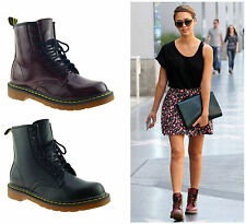 WOMENS LADIES VINTAGE RETRO CHUNKY FLAT LACE UP PUNK BIKER ANKLE BOOTS SHOES