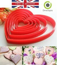 6 Red Heart Shaped Cookie Icing Fondant Cake Decorating Cutter Set Kitchen Tool