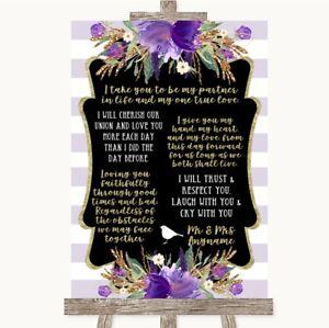 Wedding Sign Poster Print Gold & Purple Stripes Romantic Vows