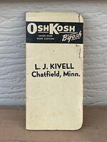 VTG OshKosh B'Gosh Overalls Pocket Notepad Memo Notebook CHATFIELD MN 1947 F/S
