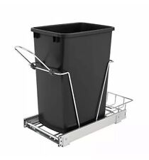 Rev A Shelf 35 Qt Pull Out Sliding Single Waste Trash Container Black Open Box