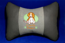 Embroidered car seat neck rest pillow - Beagle. Great gift for dog lovers.