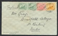 More details for 1909 western australia perth to reading 2x1/2d green +1d red +2d yellow mail rr