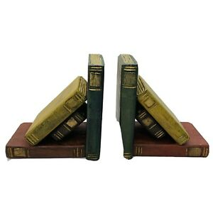 Vintage Wooden Bookends Handmade Thailand Set of  Books Gold Color  Trim   Z132