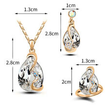 New Fashion Silver/Gold Plated Chain Cubic Zirconia Necklace Earring Jewelry Set