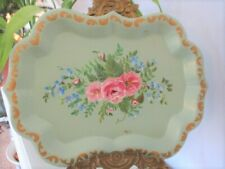 Vintage Hand Painted Jadite Pale Green Pink Roses Blue Forget-Me-Nots Tole Tray