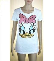 T-Shirt Maglietta Donna PINKO SA664 Paillettes Disney Paperina Bianco Tg S M L