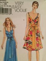 Vogue Sewing Pattern 8492 Ladies Misses Dress Sash Size 14-20 Uncut