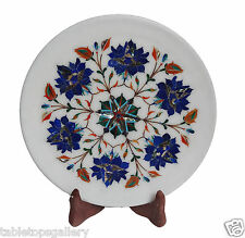 "9""x9"" Marble Serving Plate Lapis Inlay Work Marquetry Art Patio Decor Gift H1337"