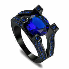 Womens Round Cut Blue Sapphire Ring 10KT Black Gold Filled Wedding Band Size 9