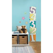 Large Number Growth Chart Wall Decals Bright Colors Kids Stickers Bedroom Decor