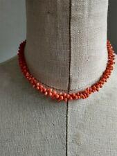 Vintage Choker Tubular Beads Necklace Orange Statement