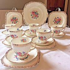 VINTAGE Bone China TEA SET GOLD CHINTZ Pink Floral Gold Gilded 19-Piece England