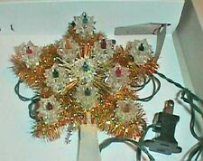 Christmas Tree Topper Gold Star with 11 Lights In Original Box