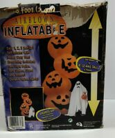 8ft Gemmy Airblown Inflatable Halloween Stacked 4 Pumpkins 2002 20713 VINTAGE