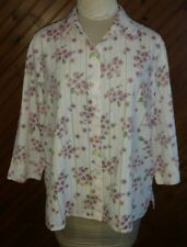 Alfred Dunner Women's Size 18 Petite Blouse Button Front Top Semi Sheer Floral