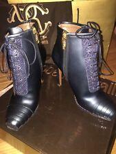 NIB Roberto Cavalli Navy Patent Leather Snakeskin Booties Boots Eur 37