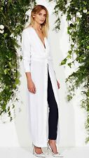 Maurice And Eve Maxi Tito Long Shirt Dress White Rayon Size 6 BNWOT
