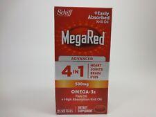 MegaRed avanzato 4 in 1 Olio di Pesce Omega 3 Olio di Krill Capsule 500 MG 25 CT EXP 3/21