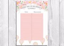 How Big Is Mummys ventre? Baby Shower Game, montgolfière, vintage floral, Fille