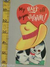 Vtg Valentine Card Puppy Dog Ten Gallon Cowboy Hat's Off Flocked Glitter  UNUSED