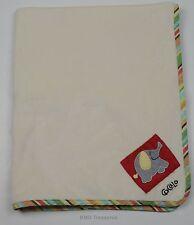 Cocalo Elephant Baby Blanket Cream Striped Trim Boys Girls
