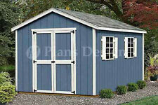 12' x 8' Storage Utility Garden Wooden Shed / Building Plans, Design #21208