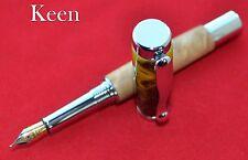 eu - Keen Handmade Birdseye Maple/Silver Banana Chrome Continental Fountain Pen