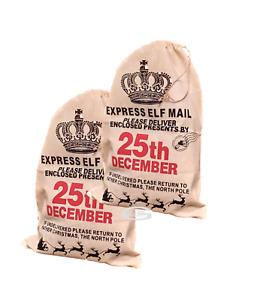 ELF VINTAGE RUSTIC HESSIAN DESIGN CHRISTMAS SANTA STOCKING PRESENT BAG SACK JUTE