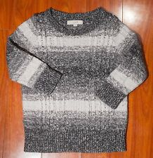 Ann Taylor LOFT 3/4 Sleeve Wool Blend Gray and White Crew Neck Sweater Size M