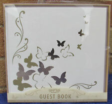 GINGER RAY GUEST BOOK ~ 35 PAGES ~ CREAM & GOLD + BUTTERFLIES ~ Hardback