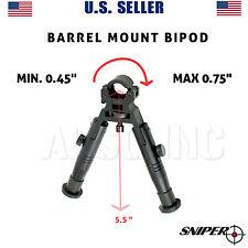 "Bipod for Rifle - Barrel Mount 0.45""-0.75"" Aluminum Fixed Height,Folding Legs"