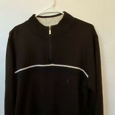 Yves Saint Laurent Pour Homme YSL Mens Sweater Mock Neck Brown Vintage Logo