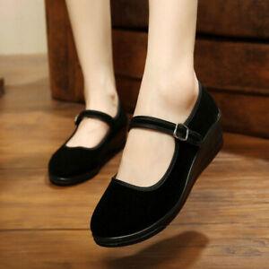 Womens Ladies Low Wedge Heel Mary Jane Dance Office Work Formal Strap Shoes HOT