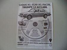 advertising Pubblicità 1982 TRIUMPH ACCLAIM 1.3