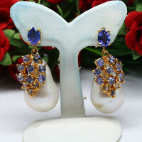 NATURAL WHITE BAROQUE PEARL & BLUE TANZANITE EARRINGS 925 STERLING SILVER