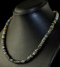 175.00 Cts Natural Blue Flash Labradorite Untreated Round Shape Beads Necklace