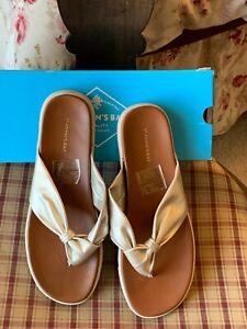 "SHOES - NIB sz 7.5 St Johns Bay ""Berry"" thong flip flop sandals, gold"
