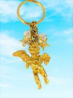Kirk Folly Vtg Cherub Guardian Angel Keychain Signed Jewelry Stars Crystal NEW