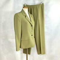 Kasper Black Label Womens Solid Taupe/Green Career 100% Polyester Pant Suit 8