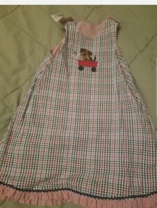 Glorimont Girls Reversible Dress Jumper Size 4 two outfits  red white blue puppy