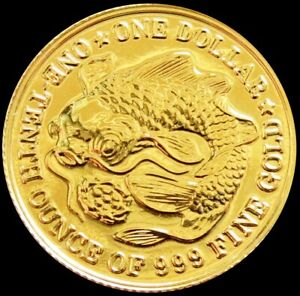 1984 GOLD SINGAPORE $1 DOLLAR CARP & LOTUS 1/10 OZ COIN MINT STATE CONDITION