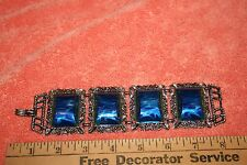 Vintage Eye Catching Chucky Marbleized Lucite Blue Link Bracelet