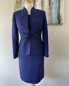 NEW KASPER Women 2PC  Gorgeous Blue Black Dress Suit Size 2p
