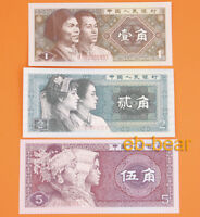 3 Pcs China Paper Money  5,2,1 Jiao 1980 Edition Banknotes UNC Asia Collection